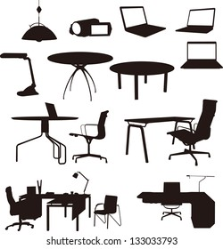 home furnitures and home appliances silhouettes set