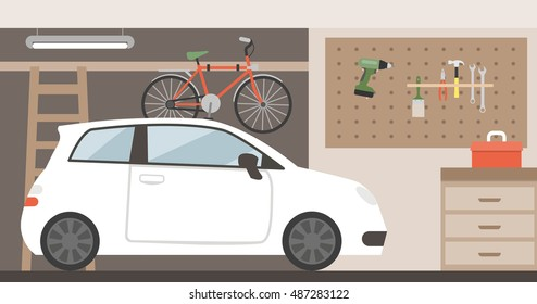 Home garage with car, bike and tools hanging on the wall