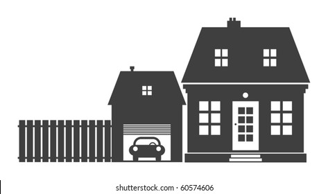 Home and garage, vector illustration