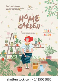 Home garden. Cute vector illustration of a woman planting potted flowers at home. Freehand drawing for a poster, banner or card