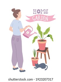 Home gardering. Woman planting gardens flowers and plants