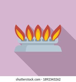 Home gas stove burning icon. Flat illustration of home gas stove burning vector icon for web design