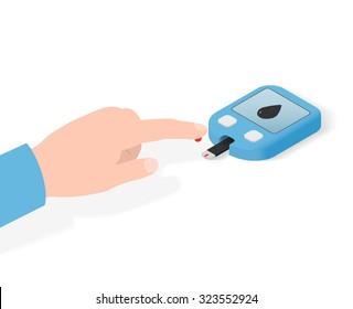 Home glucose meter (glucometer). Measurement of blood glucose.3D isometric illustration