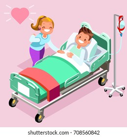 Home healthcare infographics medicine 3D flat isometric people emotions in isometric cartoon style medical icon vector illustration.