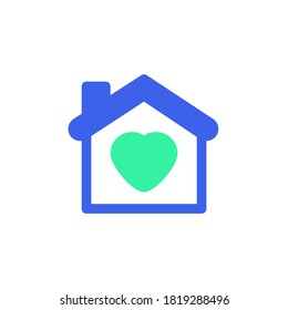 Home with heart icon vector, filled flat sign, bicolor pictogram, love house green and blue colors. Symbol, logo illustration
