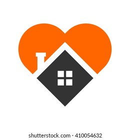 home and heart logo vector.
