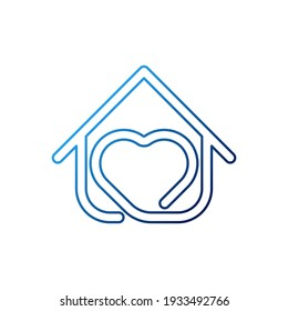 Home with heart shape Logo Icon Vector design illustration. Home with Love logo icon design concept vector template. Trendy House with heart shape icon design for website, symbol, logo, sign, app, UI