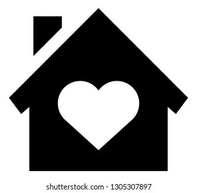 Home With Heart Vector Icon