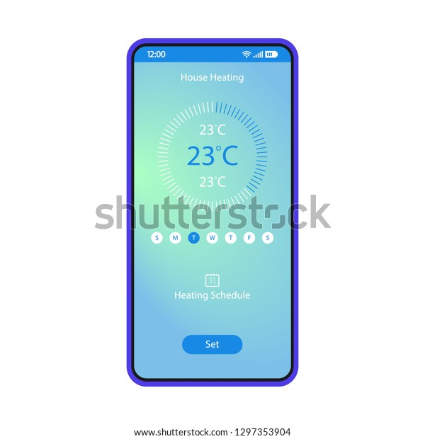 Home Heating Control App Smartphone Interface Stock Vector