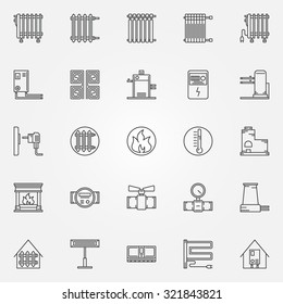 Home heating icons set - vector collection of outline heating systems symbols or signs