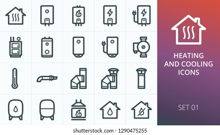 Home heating system icons set. Set of heating boiler, home electric water heater, fireplace, coaxial chimney, indirect heating boiler, central heating solid fuel boiler vector icons