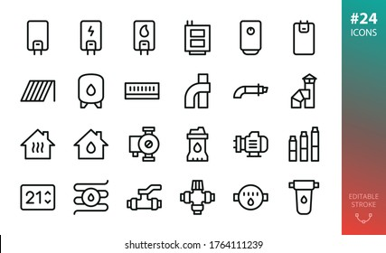 Home heating and water supply system icons set. Set of gas boiler, electric heater, solid fuel boiler, solar collector, expansion water tank, coaxial chimney pipes, submersible water pump, valve icon