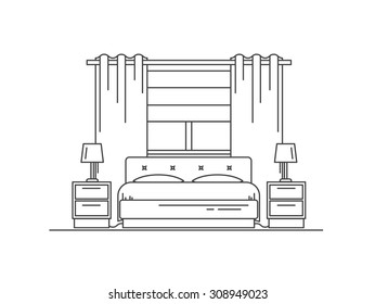 Home and hotel bedroom interior with comfortable furniture. Line vector illustration