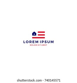 home house american flag logo vector template icon