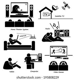Home House Entertainment Electronic Appliances Stick Figure Pictogram Icon Cliparts