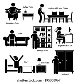 Home House Furniture Stick Figure Pictogram Icon Cliparts