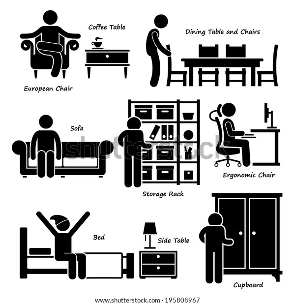 Home House Furniture Stick Figure Pictogram Icon Cliparts