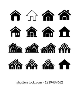 home/ house icon vector set, various forms of house building with black and white