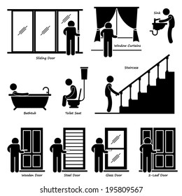 Home House Indoor Fixtures Stick Figure Pictogram Icon Cliparts