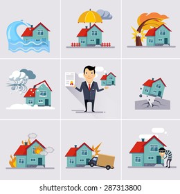 Home and house insurance and risk icons illustration vector set