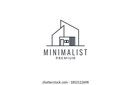 home house modern architecture line minimalist logo vector icon illustration design