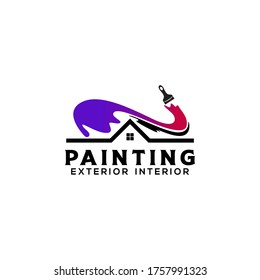 Home House Painting Service Coloring Logo Design Template Vector