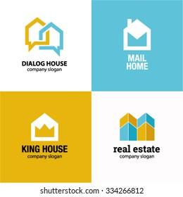 Home house real estate idea logo vector logo template
