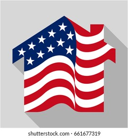 home icon with a combination of the American flag, vector illustration in flat design style.
