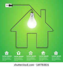 Home icon with creative light bulb abstract infographic modern design template workflow layout, diagram, step up options, Vector illustration template design