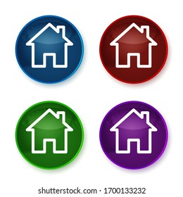 Home icon isolated on shiny round buttons set illustration