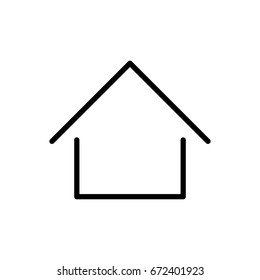 Home icon or logo in modern line style. Black outline pictogram for web site design and mobile apps. Vector illustration. House, home icon, apartment, architecture, building button