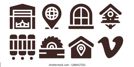 home icon set. 8 filled home icons. Simple modern icons about  - Room divider, Hangar, Saw, Location, Window, Vimeo, Bird house