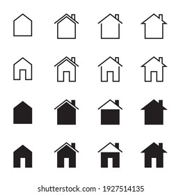Home icon set. simple vector house illustration