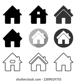 Home icon set, Home symbol set for web site ui or application ui to go to main or home page, flat simple design