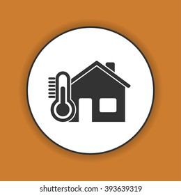 Home icon with thermometer icon. Flat design style.