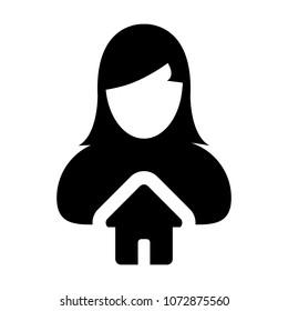 Home Icon Vector With Female Person Profile Avatar Symbol in Glyph Pictogram illustration