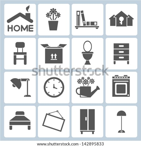 Home Icons Furniture Interior Design Icon Stock Vector Royalty Free