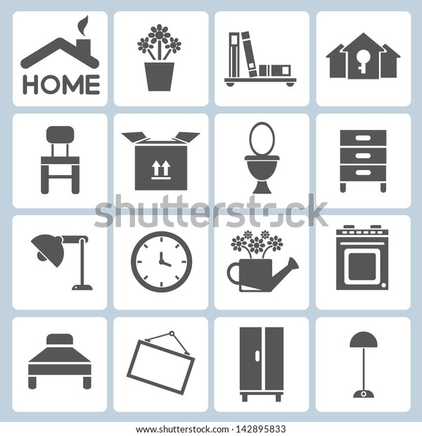 Home Icons Furniture Interior Design Icon Stock Vector