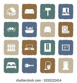 Home Icons. Grunge Color Flat Design. Vector Illustration.