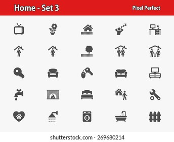 Home Icons. Professional, pixel perfect icons optimized for both large and small resolutions. EPS 8 format.