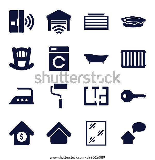 home icons set. Set of 16 home filled icons such as washing machine, house building, business center building, baby bed, window, iron, roller, pie, house sale, bath, plan