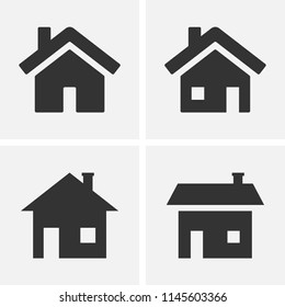 Home icons. Set of house icons isolated.