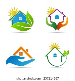 Home icons vector design represents real estate logos, Eco friendly home, signs and symbols.