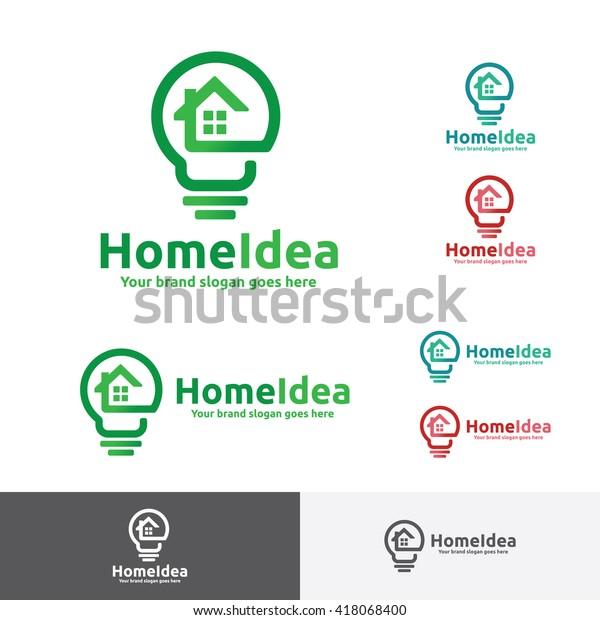 Home Idea Logo Home Light Bulb Stock Vector Royalty Free