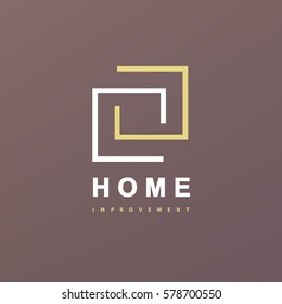 Home Improvement abstract logo. Home Interior remodeling line art logotype.