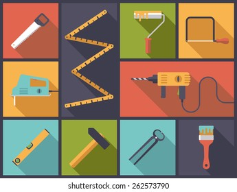 Home improvement and crafting tools. Flat design long shadow vector illustration