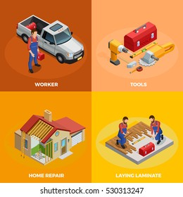 Home improvement isometric template with foreman instruments building construction and floor repair isolated vector illustration