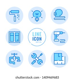 Home improvement vector line icons set. Home renovation, floor plan, drill, repair outline symbols. Modern simple stroke graphic elements. Round icons