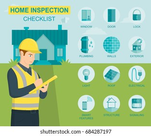 Home inspection infographics and tips. House examination icons set. Vector illustration.
