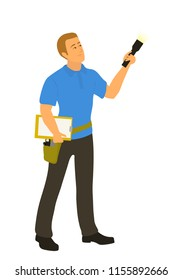 Home inspector man examining house condition with flashlight to write a report. Male caucasian home inspection professional full length vector flat character illustration isolated on white background